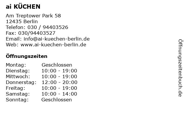 ᐅ Offnungszeiten Ai Kuchen Am Treptower Park 58 In Berlin