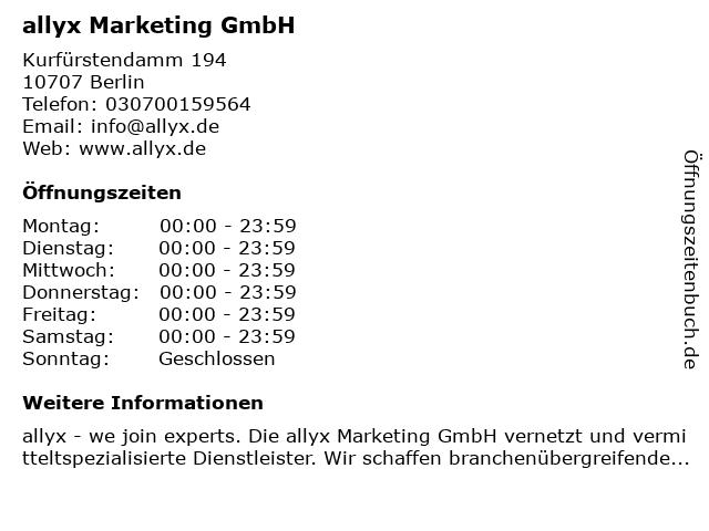 allyx Marketing GmbH in Berlin: Adresse und Öffnungszeiten