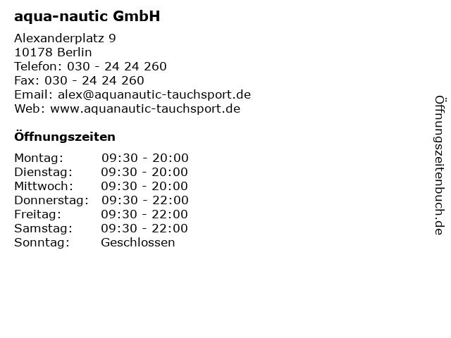 aqua-nautic GmbH in Berlin: Adresse und Öffnungszeiten