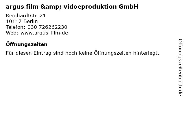 argus film & vidoeproduktion GmbH in Berlin: Adresse und Öffnungszeiten