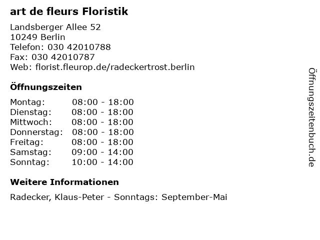 art de fleurs Floristik in Berlin: Adresse und Öffnungszeiten