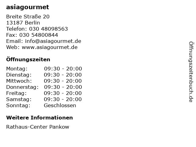 asiagourmet in Berlin: Adresse und Öffnungszeiten