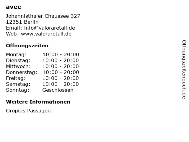 avec in Berlin: Adresse und Öffnungszeiten