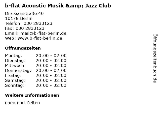 b-flat Acoustic Musik & Jazz Club in Berlin: Adresse und Öffnungszeiten