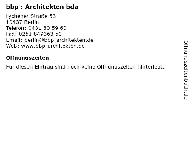 bbp : Architekten bda in Berlin: Adresse und Öffnungszeiten