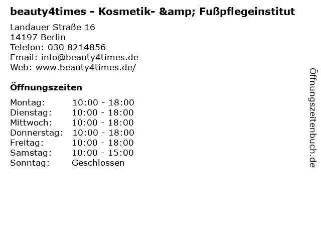 beauty4times - Kosmetik- & Fußpflegeinstitut in Berlin: Adresse und Öffnungszeiten