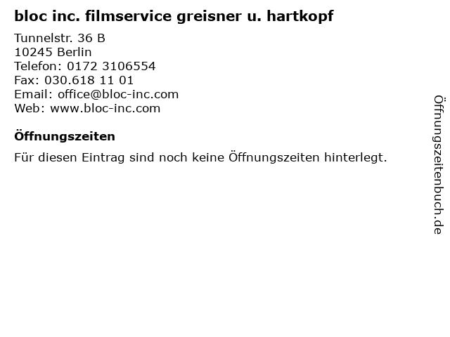 bloc inc. filmservice greisner u. hartkopf in Berlin: Adresse und Öffnungszeiten