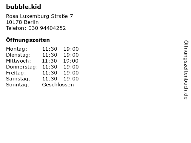 bubble.kid in Berlin: Adresse und Öffnungszeiten
