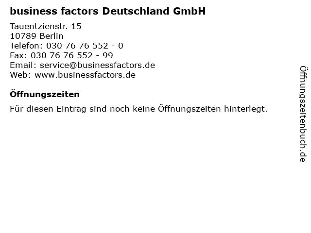 business factors Deutschland GmbH in Berlin: Adresse und Öffnungszeiten
