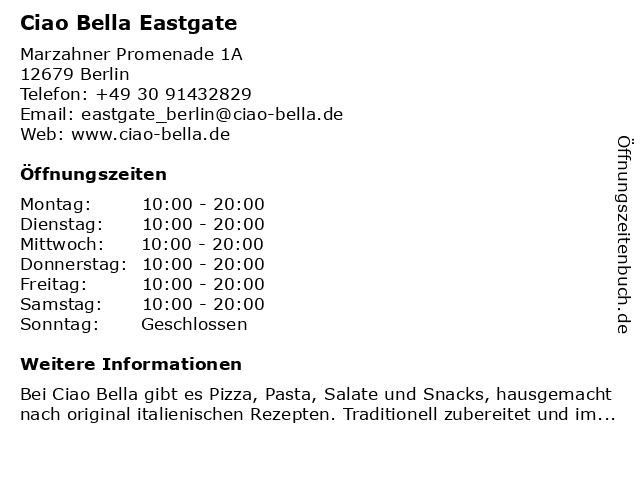 ciao bella Eastgate in Berlin: Adresse und Öffnungszeiten