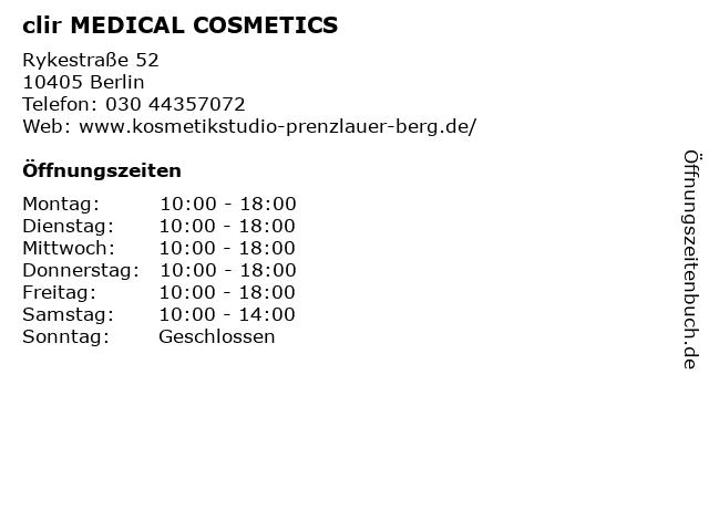 clir MEDICAL COSMETICS in Berlin: Adresse und Öffnungszeiten