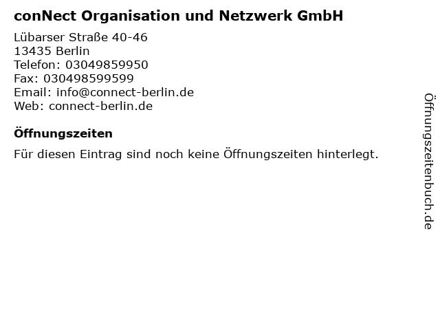 conNect Organisation und Netzwerk GmbH in Berlin: Adresse und Öffnungszeiten