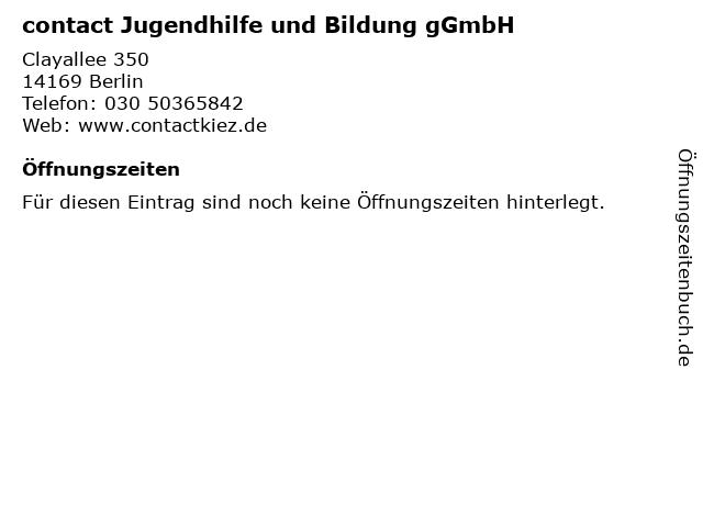 contact Jugendhilfe und Bildung gGmbH in Berlin: Adresse und Öffnungszeiten