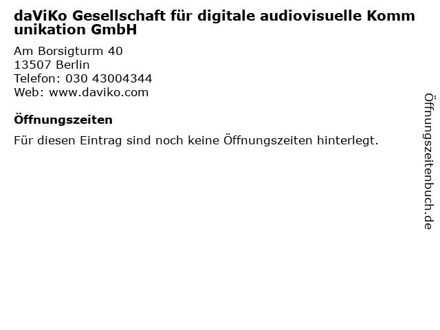 daViKo Gesellschaft für digitale audiovisuelle Kommunikation GmbH in Berlin: Adresse und Öffnungszeiten