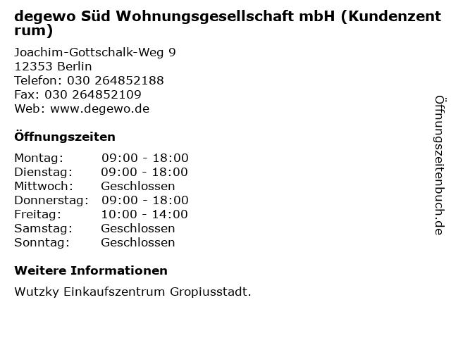 degewo Süd Wohnungsgesellschaft mbH (Kundenzentrum) in Berlin: Adresse und Öffnungszeiten