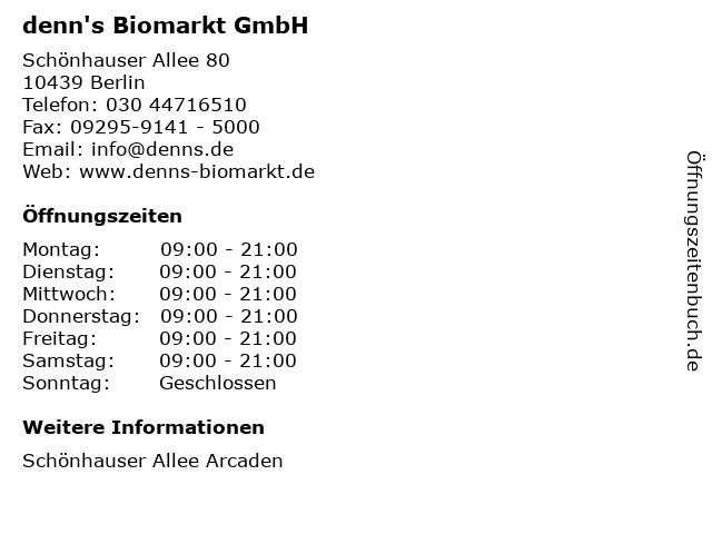 denn's Biomarkt GmbH in Berlin: Adresse und Öffnungszeiten