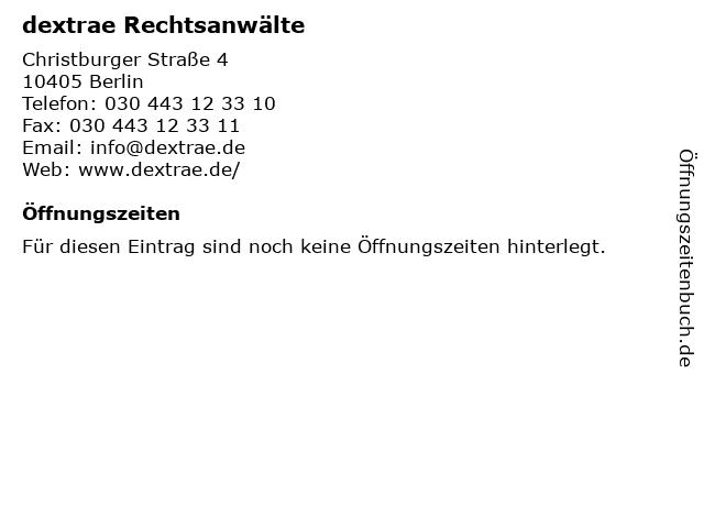 dextrae Rechtsanwälte in Berlin: Adresse und Öffnungszeiten