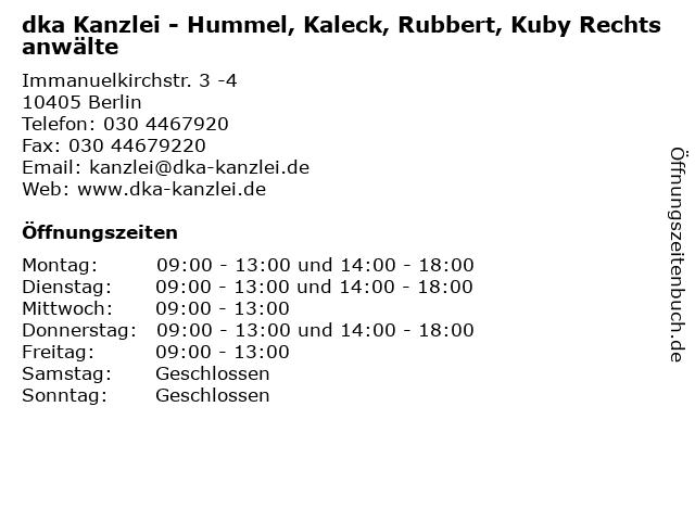 dka Kanzlei - Hummel, Kaleck, Rubbert, Kuby Rechtsanwälte in Berlin: Adresse und Öffnungszeiten