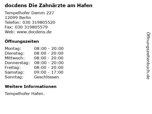 docdens Die Zahnärzte am Hafen in Berlin: Adresse und Öffnungszeiten