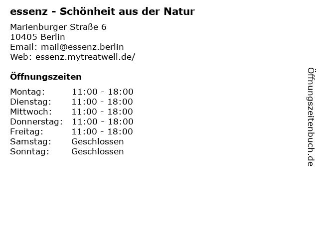 essenz - Schönheit aus der Natur in Berlin: Adresse und Öffnungszeiten
