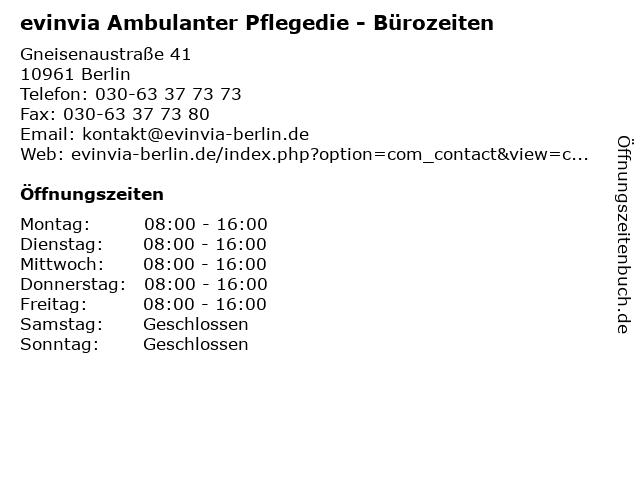 evinvia Ambulanter Pflegedie - Bürozeiten in Berlin: Adresse und Öffnungszeiten