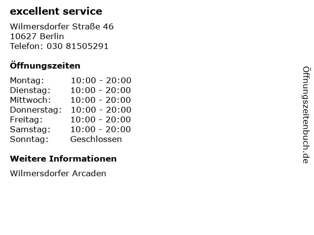excellent service in Berlin: Adresse und Öffnungszeiten