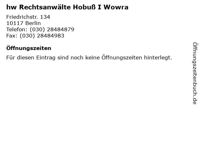 hw Rechtsanwälte Hobuß I Wowra in Berlin: Adresse und Öffnungszeiten