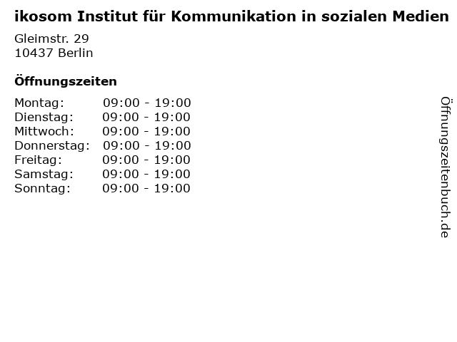 ikosom Institut für Kommunikation in sozialen Medien in Berlin: Adresse und Öffnungszeiten