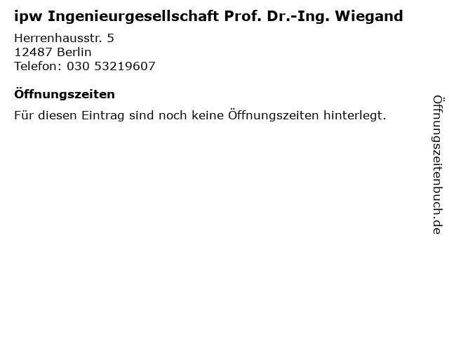 ipw Ingenieurgesellschaft Prof. Dr.-Ing. Wiegand in Berlin: Adresse und Öffnungszeiten