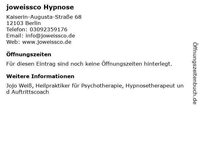 joweissco Hypnose in Berlin: Adresse und Öffnungszeiten