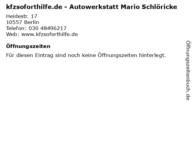 kfzsoforthilfe.de - Autowerkstatt Mario Schlöricke in Berlin: Adresse und Öffnungszeiten