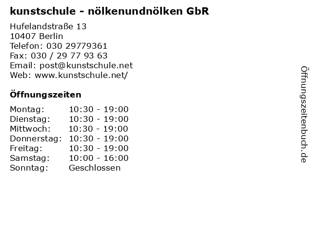 kunstschule - nölkenundnölken GbR in Berlin: Adresse und Öffnungszeiten