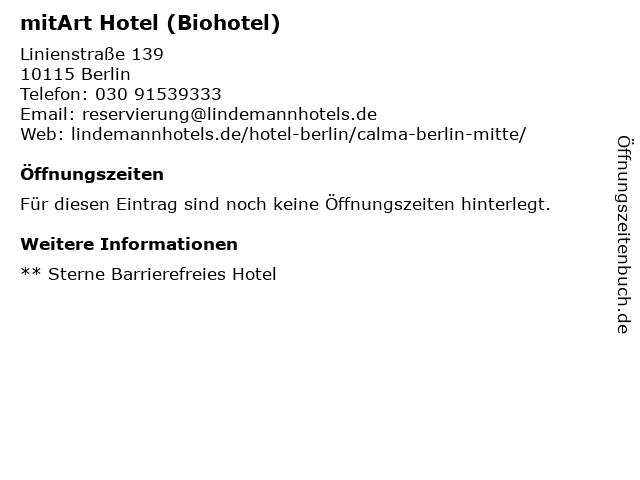 mitArt Hotel (Biohotel) in Berlin: Adresse und Öffnungszeiten