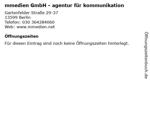 mmedien GmbH - agentur für kommunikation in Berlin: Adresse und Öffnungszeiten