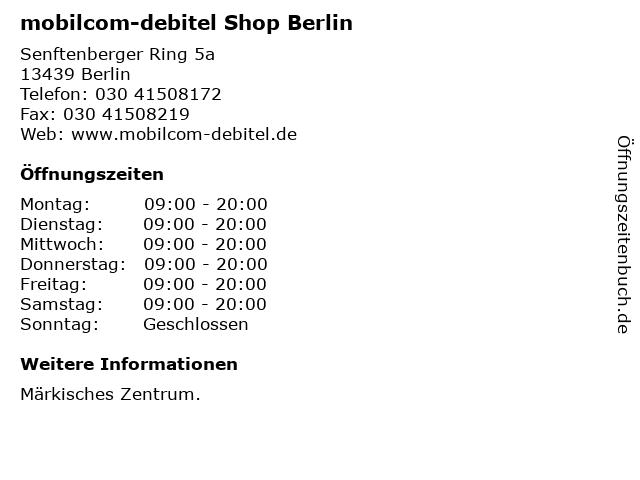 mobilcom-debitel Shop Berlin in Berlin: Adresse und Öffnungszeiten