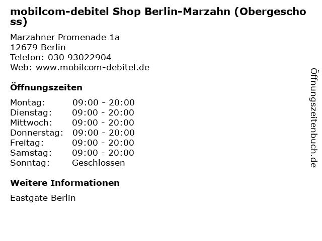 mobilcom-debitel Shop Berlin-Marzahn (Obergeschoss) in Berlin: Adresse und Öffnungszeiten