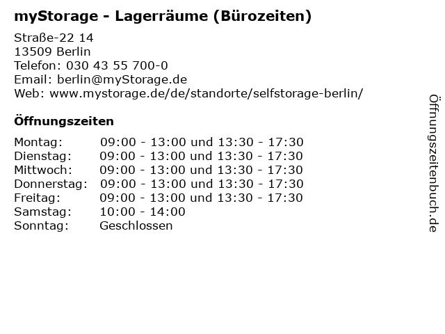 myStorage - Lagerräume (Bürozeiten) in Berlin: Adresse und Öffnungszeiten