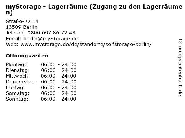 myStorage - Lagerräume (Zugang zu den Lagerräumen) in Berlin: Adresse und Öffnungszeiten
