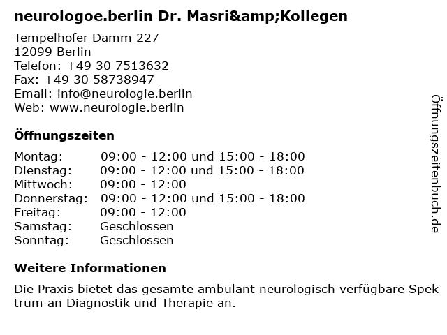 Praxis Dr. med. Said Masri - Neurologie im Tempelhofer Hafen Berlin in Berlin: Adresse und Öffnungszeiten