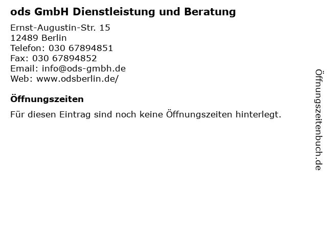 ods GmbH Dienstleistung und Beratung in Berlin: Adresse und Öffnungszeiten