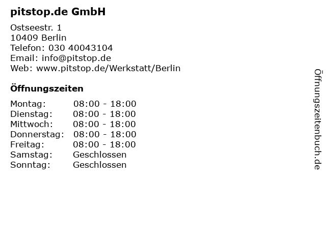 pitstop.de GmbH in Berlin: Adresse und Öffnungszeiten