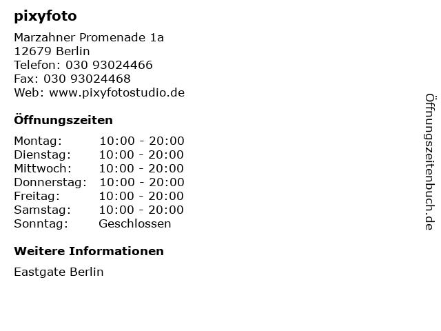 pixyfoto in Berlin: Adresse und Öffnungszeiten