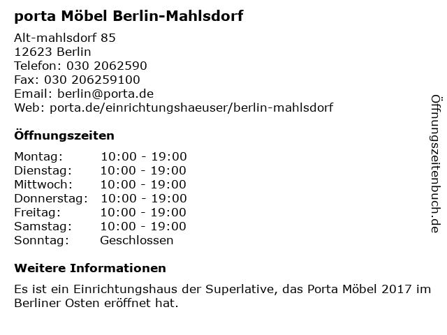 ᐅ öffnungszeiten Porta Möbel Alt Mahlsdorf 85 In Berlin