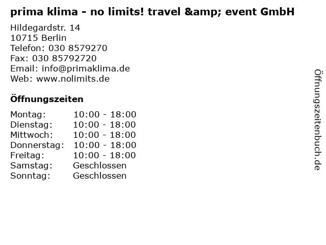 prima klima - no limits! travel & event GmbH in Berlin: Adresse und Öffnungszeiten
