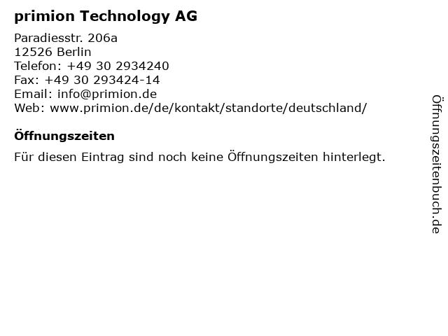 primion Technology AG in Berlin: Adresse und Öffnungszeiten