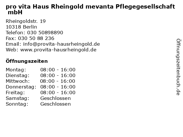 pro vita Haus Rheingold mevanta Pflegegesellschaft mbH in Berlin: Adresse und Öffnungszeiten
