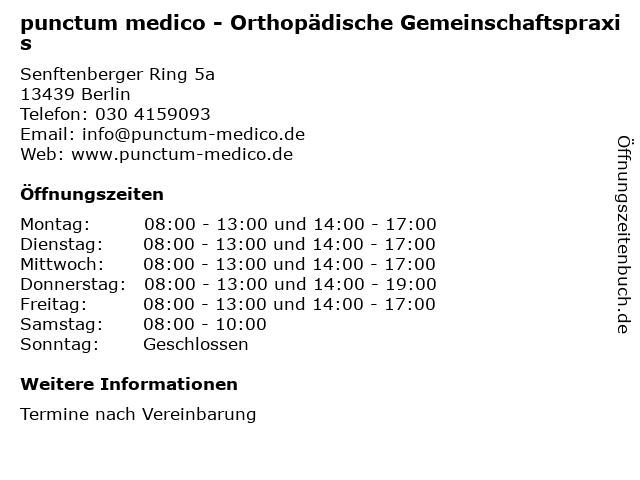 punctum medico in Berlin: Adresse und Öffnungszeiten