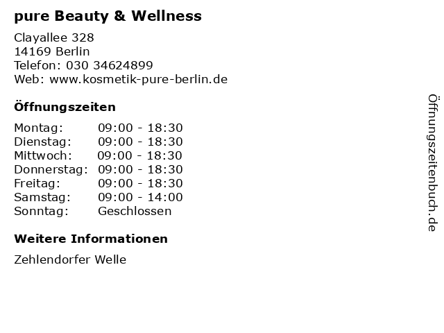 pure Beauty & Wellness in Berlin: Adresse und Öffnungszeiten