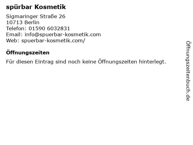 spürbar Kosmetik in Berlin: Adresse und Öffnungszeiten