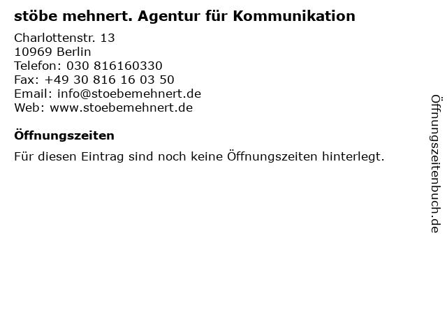 stöbe mehnert. Agentur für Kommunikation in Berlin: Adresse und Öffnungszeiten